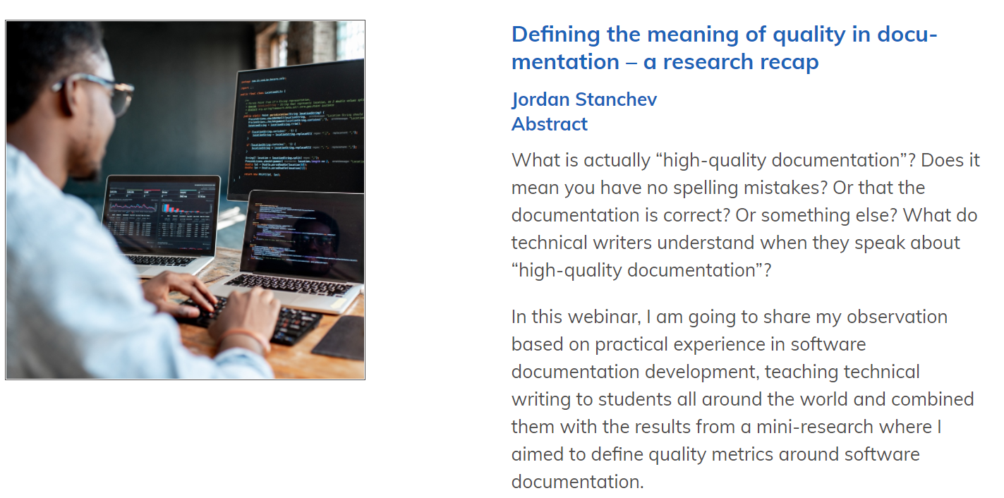 Уебинар 2021: Defining the meaning of quality in documentation – a research recap
